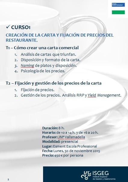 Creación de la carta y fijación de precios del restaurante (ISGEG – Instituto Superior de Gestión y Gastronomía)